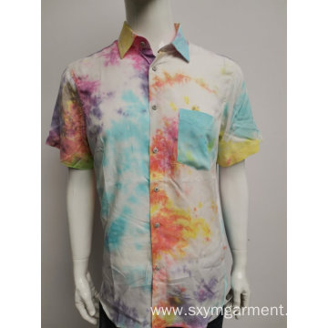 Men's cotton twill print ls shirt